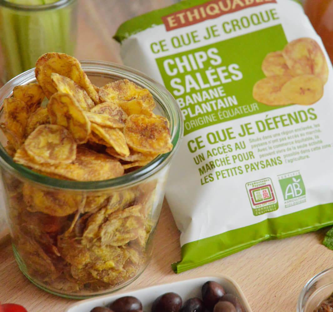 chips de banane plantain salé bio équitable
