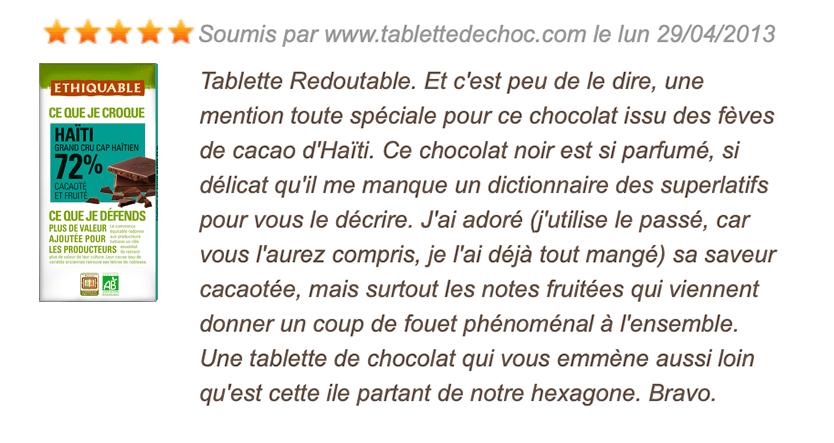 avis consommateur chocolat noir 72%