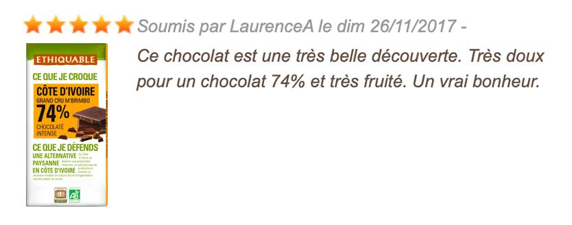 avis consommateur chocolat noir 74%