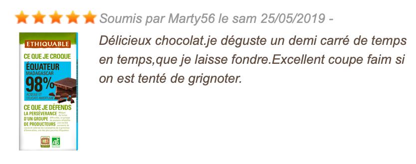 avis consommateur chocolat noir 98%
