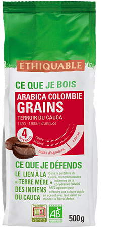 cafe grains Colombie equitable bio
