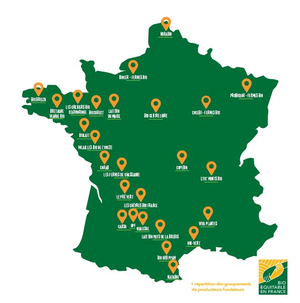 carte producteurs bio equitable en france