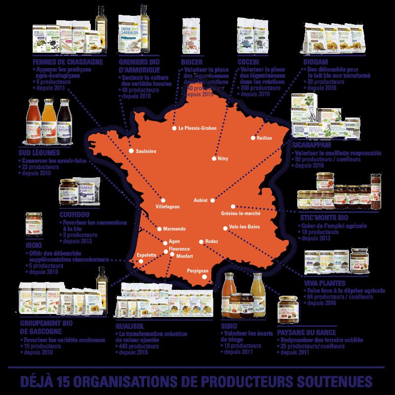 Carte des producteurs Paysans d'ici - commerce équitable origine France
