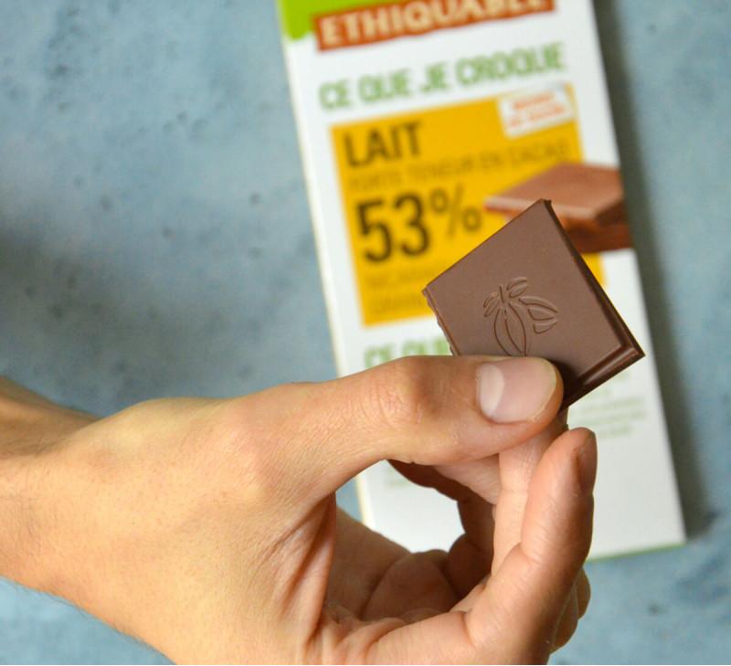 ETHIQUABLE chocolat lait bio 53% cacao nicaragua issu du commerce equitable