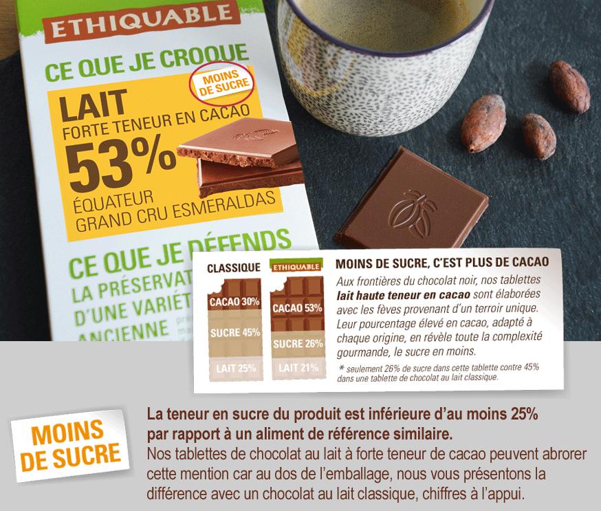 ETHIQUABLE moins de sucre chocolat