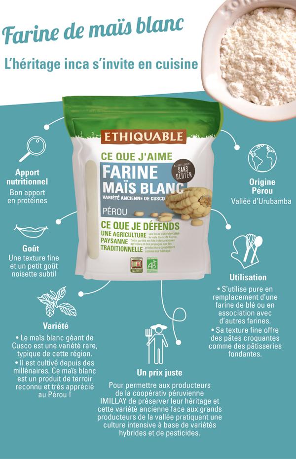 Farine sans gluten bio et équitable de maïs blanc