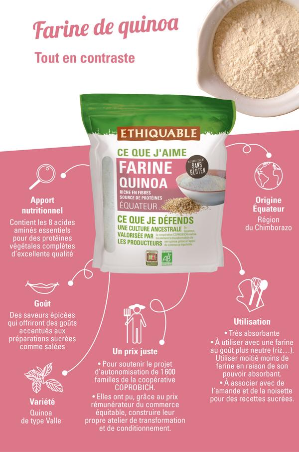 Farine sans gluten bio et équitable de quinoa