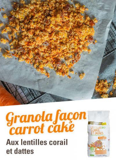Granola lentilles corail et dattes séchées