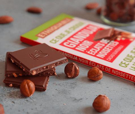 gianduja chocolat noir éclats de noisettes bio équitable