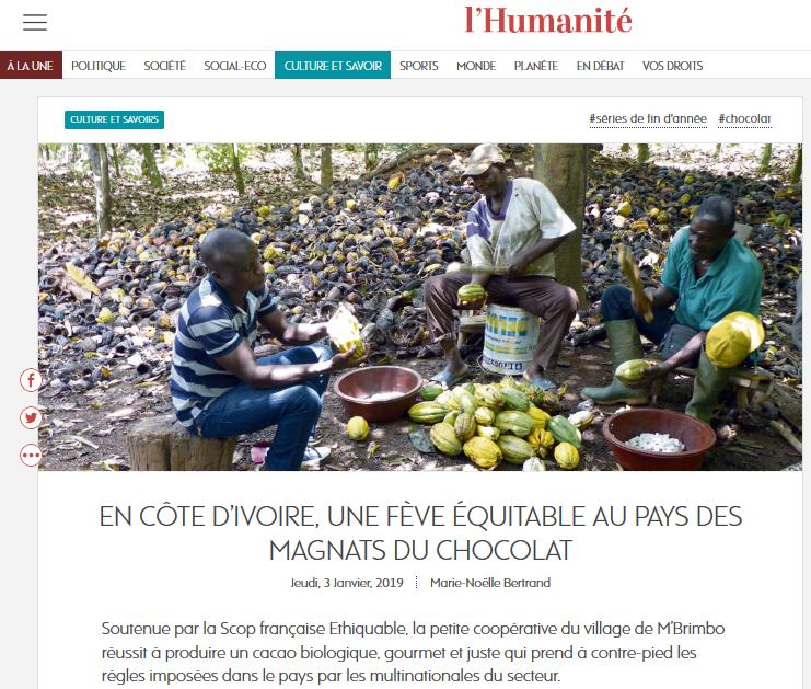 l'humanité cacao sceb coe d'ivoirebio équitable