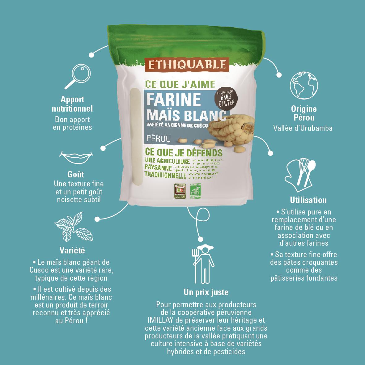 Farine de maïs blanc équitable et bio sans gluten