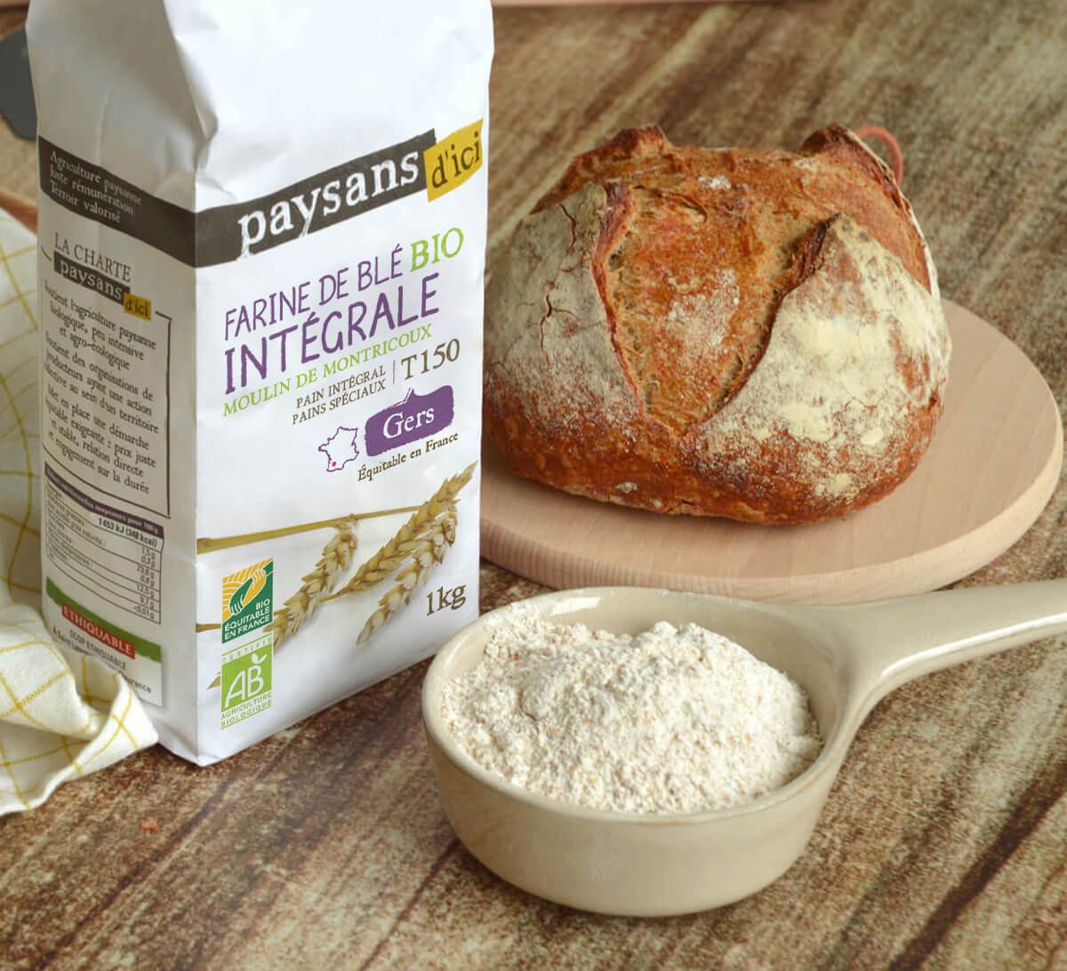 farine integral paysans d'ici bio équitable en France