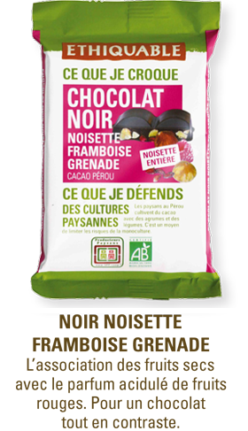 chocolat noir noisette framboise grenade bio equitable ethiquable