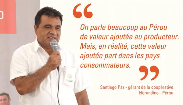 santiago paz à l'inauguration de la chocolaterie