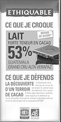 chocolat lait haute teneur en cacao 53% guatemala