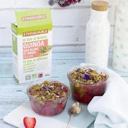 Recette crumble quinoa rhubarbe fraise bio