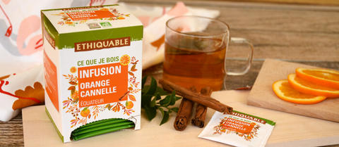 Infusion orange cannelle bio et équitable