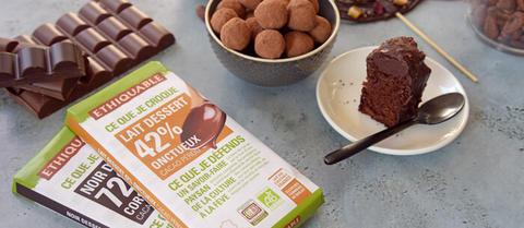 Deux tablettes dessert bio et à haut pourcentage de cacao