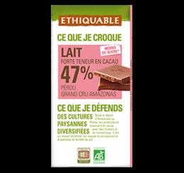 chocolat grand cru lait 47% de cacao bio équitable