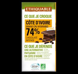 chocolat noir 74% cote ivoire grand cru ethiquable equitable bio