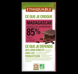 Chocolat noir 85% Madagascar équitable et bio - ETHIQUABLE