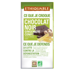 chocolat noir gingembre ethiquable bio commerce equitable