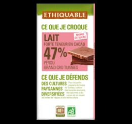 ETHIQUABLE CHOCOLAT BIO EQUITABLE lait 47%