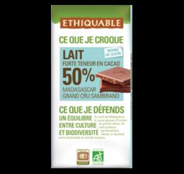 ETHIQUABLE CHOCOLAT BIO EQUITABLE lait 50%