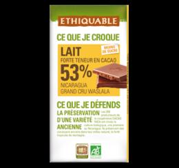 ETHIQUABLE CHOCOLAT BIO EQUITABLE lait 53%