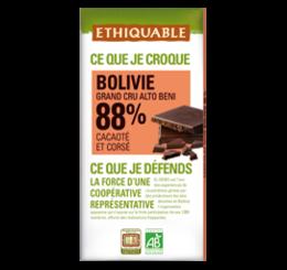 ETHIQUABLE CHOCOLAT BIO EQUITABLE noir bolivie 88%