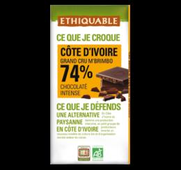 ETHIQUABLE CHOCOLAT BIO EQUITABLE noir cote d'ivoire 74 %