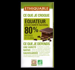 chocolat equateur 80% bio équitable ethiquable