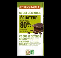 ETHIQUABLE CHOCOLAT BIO EQUITABLE noir equateur nica 80%