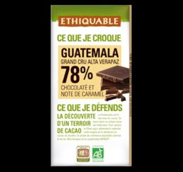 Chocolat noir grand cru 78% guatémala équitable bio