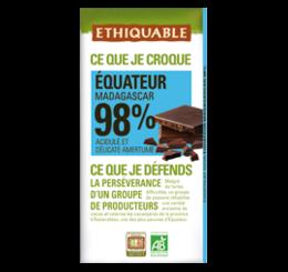 ETHIQUABLE CHOCOLAT BIO EQUITABLE equateur mada 98%