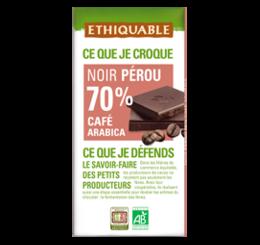 ethiquable chocolat noir 70% café equitable bio