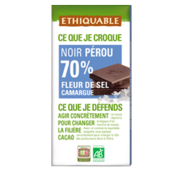 ethiquable chocolat noir 70% sel de Camargue equitable bio
