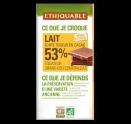 chocolat lait 53% ethiquable equateur bio équitable