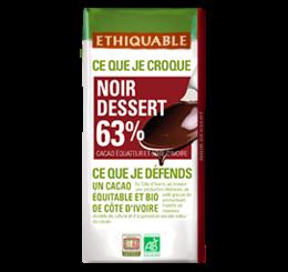 noir dessert 63% de cacao Ethiquable bio équitable