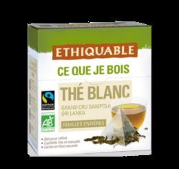 Thé blanc équitable & bio ethiquable - Feuilles entières sachet pyramide en fibre naturelle