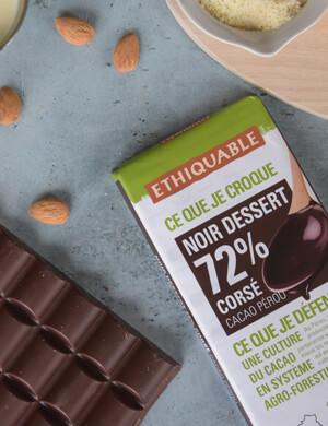 Tablettes dessert bio à 72% de cacao