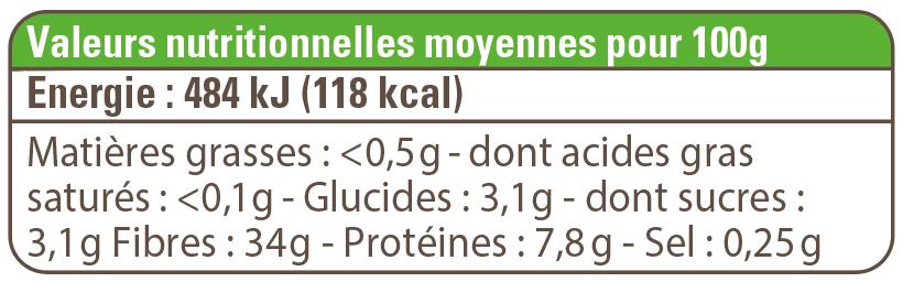 valeur nutritionnelle café soluble bio