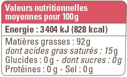 valeurs nutritionnelles hiuile sésame bio equitable